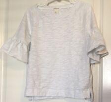 JCrew Crewcuts Girls White Dressy Flutter Bell Sleeve Shirt Size 6-7