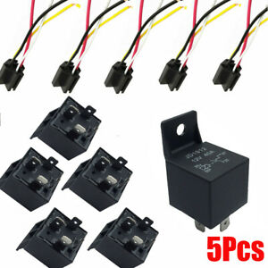 5Pcs 12V 40 Amp Car SPDT Automotive Relay DC 4 Pin 4 Wires W/ Harness Socket