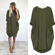 Women Pocket Loose Dress Ladies Crew Neck Casual Baggy Long Tops Dress Plus Size