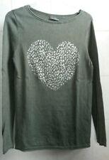 Street One Damen-Pullover Feinstrick khaki mit Herz-Print, Größe 36, wie NEU!