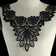 Lace Embroidered Trim Venise Floral Neckline Neck Collar Sewing Applique Black
