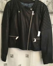 LADIES GAP DOUBLE TEXTURE COLLARLESS PEBBLE LEATHER MOTO JACKET BLK XXL NW TAGS