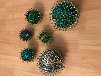 Vintage Lot Green Blue Mirrored Starburst Snowflake Sequin Christmas Ornaments