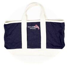 Ralph Lauren Polo Jeans Co Canvas Tote Lobster Hit Navy Blue Cream Beach Bag