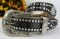 Nocona Rhinestone Studded Crystals Leather Western Belt Ranger Keeper Sz 26