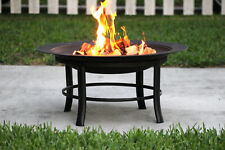 """28"""" Round Outdoor Wood Burning Fire Pit Backyard Patio Black W/ Mesh Spark Guard"""
