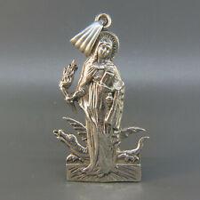 Sterling Silver Pendant Saint, Dragon, Torah, Halo