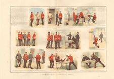1888 ANTIQUE PRINT- MILITARY - SKETCHES AT A RECRUIT DEPOT - COLOUR