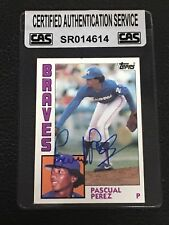 PASCUAL PEREZ 1984 TOPPS SIGNED  AUTOGRAPHED CARD #675 BRAVES CAS AUTHENTIC