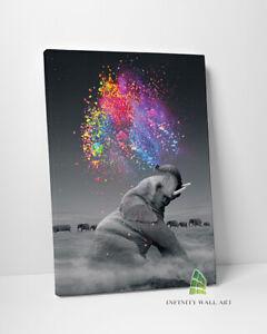 ELEPHANT Abstract Colour Splash Canvas Art Wall Art Print Decor Picture -C658