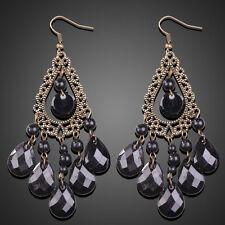 Fashion Retro Women Water Drop Tassel Chandelier Design Earrings Ear Hook