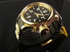 INVICTA NEW MEN SWISS HARD TO FIND 18K GOLD PLATED RUSSIAN DIVER BLACK POLY BAND