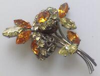 broche ancienne déco floral couleur argent rhodié cristaux taillé citrine 585