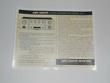 Audio Research SP-3 Audiophile Preamp Ad 1972, 1 Page Article + Info