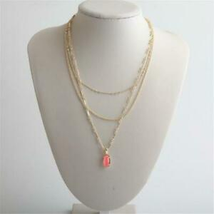 Kendra Scott Elisa Gold Tone Triple Strand Necklace in Coral Illusion
