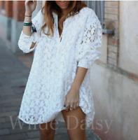 ZARA NEW WHITE TEXTURED MINI DRESS HIGH NECKLINE RUFFLE PUFF SLEEVES SIZE XS-XXL