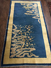 Antique Hand Made Peking  Chinese Runner 3x6ft from Ca 1890