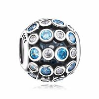 Blue & Clear Crystals Openwork Bead Silver Charm Fit 925 Sterling Bracelet Chain