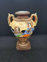 "Vintage Satsuma Moriage Raised Enamel Two Handled Urn Vase approx 8"" tall"