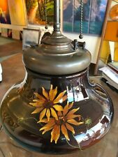 Lovely WELLER LOUWELSA  Art Pottery Oil Lamp B&H Font Poppy Flower Daisy Antique