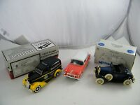 3 LIBERTY DIE CAST LIMITED BANKS 1936 DODGE PANEL, MODEL A, 1955 CHEVY WAGON