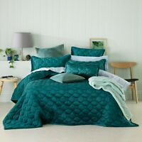 Yaxley Teal Coverlet Set by Bianca   Bedcover   Snuggly sherpa reverse fabric