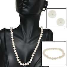 "Cultured Freshwater White Pearl 18"" Necklace Earrings 7"" Bracelet Set"