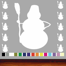 Snowman With Broom Christmas Shapes Pack of 10 Vinyl Wall Sticker