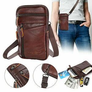 Men Leather Phone Pouch Running Belt Bag Shoulder Waist Crossbody Pack Fashion