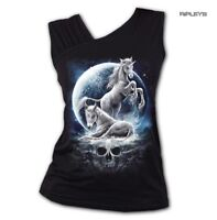 SPIRAL Ladies Black Gothic BABY UNICORN Moon Skull Slant Vest Top All Sizes