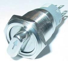 Drehschalter 19mm, 4-polig, 2 x Öffner, 2 x Schließer, Edelstahl, 250V/6A, S127