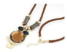 Bejeweled Brown Large Owl Pendant & Chain Statement Necklace Braided Chain
