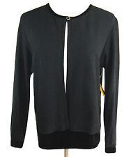 New COLDWATER CREEK Black Knit Cardigan Sweater Velvet Trim Sz MED
