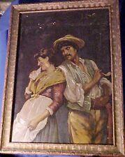 Antique Oil Painting on Glass  Dark Tonal Romantic Realism