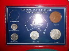 1957 AUSTRALIAN Pre Decimal 5 coin set IN SPECIAL CARD (very Nice) BIRTHDAY GIFT