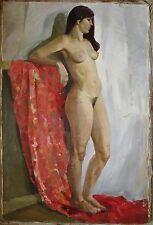 Russian Ukrainian Soviet Oil Painting Realism portrait girl woman nude figure