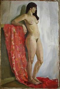 Russian Ukrainian Soviet Oil Painting Realism portrait girl woman nude figure
