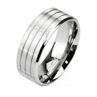 Men's 8mm Stainless Steel Classic Traditional Wedding Band 3 Grooves Center Ring