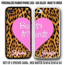 CHEETAH PINK CUTE BFF Best Friends Rubber Silicone Cases For iPhone 6S 6 4 5S 5C