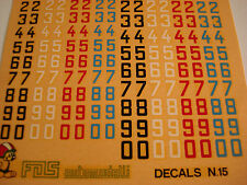 DECALS KIT 1/43 NUMERI 6-7 MM NERI BIANCHI ROSSI CELESTI F1 DECALS 1/43 GENERICA