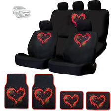NEW RED HEART DESIGN FRONT AND REAR CAR SEAT COVERS FLOOR MATS SET FOR CHEVY