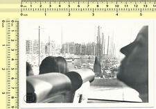021 1960s Blurry Face, Parked Sailboats Boats Dock Abstract old original photo