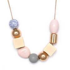 Square Wood Pink Round Beads Geometric Minimalist Simplistic Cos Style necklace
