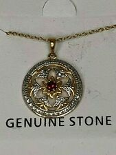 JODY COYOTE, Genuine Stone, Gold & Silver Necklace w/ Floral Design, NWT