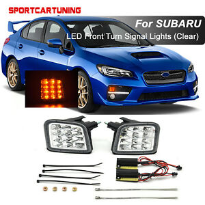 2x Amber LED Front Turn Signal Lights Corner Lamp For 2015-2020 Subaru WRX STI