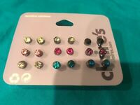 Nine Pairs Of Claire's Round  Colored Rhinestone Studded Earrings
