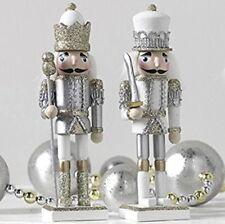 "RAZ 3522828 Silver & Gold Glitter 6"" Wooden Nutcracker Ornaments Set of 2"