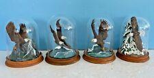 4 Franklin Mint Ronald Van Ruyckevelt American Bald Eagle Figurine GLASS DOME