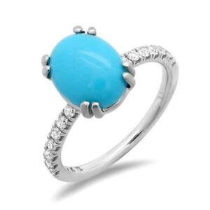 Certified 2.50cttw Turquoise 0.40cttw Diamond 14KT White Gold Ring