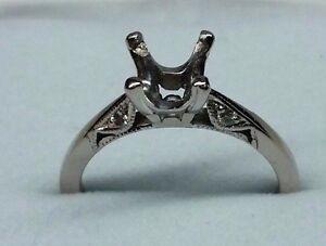 """ Tacori "" Engagement 18K White Gold Semi-Mount Ring For Round Diamond"